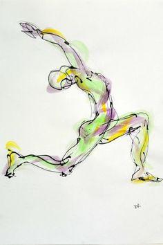 ૐ YOGA ૐ   Padangusthasana ૐ   por  el artista  búlgaro Boryana Korcheva. ¡La energía del Guerrero!