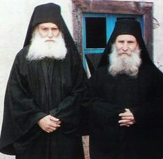 The Elders Ephraim of Katounakia and Joseph of Vatopedi (monasteries of Mt. Athos - the Holy Mountain-Άγιον Όρος). The Elder Ephraim was recently canonized as a saint in the Orthodox Church.