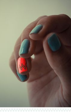 neon orange + turquoise + chevron // nails