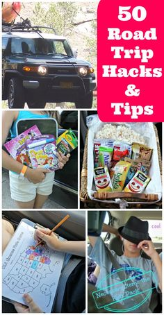 TONS of great tips, hacks and ideas for your next road trip! Healthy snack ideas, how to keep kids busy on long car rides, what to bring and ways to keep the car organized while traveling with kids!