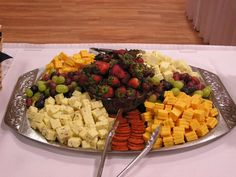 4) All of the cheeses on a tray should be cut and prepared using different utensils to keep the flavors from mixing together( especially with stronger tasting cheese). if soft cheeses are being served such as brie, a knife should be provided so that people can spread the cheese onto crackers or bread.