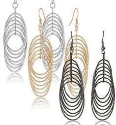 "$3.28 (70% Off) on LootHoot.com - Drop Dangle Earrings Set For Women Teen Jewelry Plate in Silver And Gold Diamond Cut 2 Pairs (GL3: Oval Dangle 2.9"" Triple Tones)"