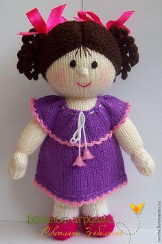 """Купить """"Куколка с комплектом нарядов"""" вязаная игрушка - кукла, вязаная кукла, девочка, платье, сарафан ♡"""