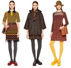 Breaking Trends Pre-Fall 2015: M Missoni.  t's back to the 70s at M Missoni, featuring mustard yellows, denim blues, burnt oranges and chocolate browns, all in clashing zig-zags, stripes and repeating prints. Neckerchiefs, opaque tights, canteen and camera bags and over-the-elbow gloves finish off the look.