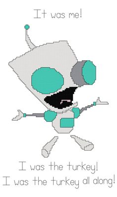 Invader Zim Gir Counted Cross Stitch Pattern