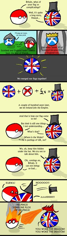 The British Flag. Now this is interesting! I never knew! No wonder it's called the Union Jack. Although, I don't understand the Wales joke...