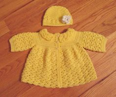 Handmade Crochet Baby Girl Sweater and Hat by TheComfyBaby on Etsy