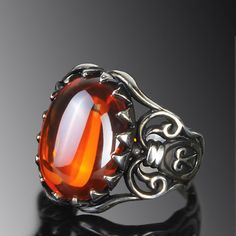MEN's Ring Sterling Silver 925 K with Natural Red Quartz Size 9.5 US Handmade $49.00