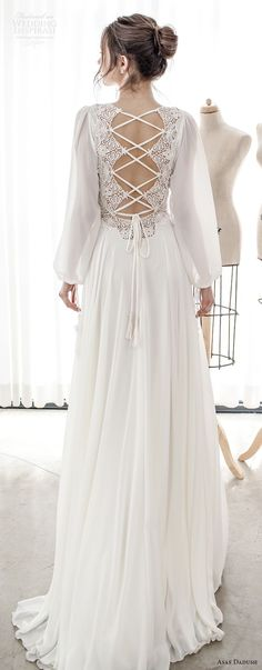 asaf dadush 2017 bridal long bishop sleeves v neck lighly embellished bodice romantic bohemian soft a  line wedding dress cross strap back sweep train (14) bv -- Asaf Dadush 2017 Wedding Dresses