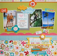 "#papercraft #scrapbook #layout. Searchsku: I ""heart"" to travel by Diane Payne"