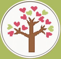 Little Heart Tree - PDF Downloadable Printable Cross Stitch Pattern