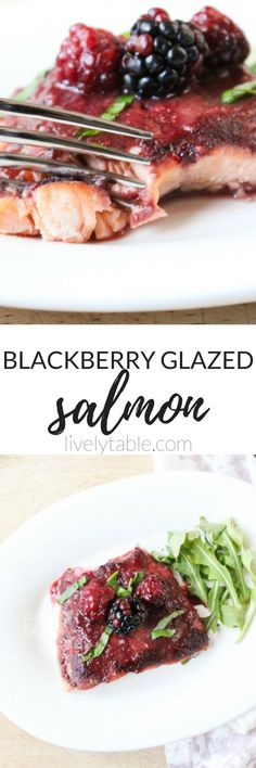 Heart healthy blackberry glazed salmon is delicious and loaded with antioxidants and omega-3s! (gluten-free)