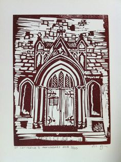 St Catherine Hatcham Church Porch mounted linocut by Inkysloth, £8.00