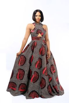 A gorgeous red and black tribal print gown with criss cross shoulders and an elegant full skirt. This dress is custom made to size, and has a 3 week lead time. Dry Clean only. Source by omojodivine dress modern African Maxi Dresses, Latest African Fashion Dresses, African Dresses For Women, African Attire, African Wear, African Women, Women's Fashion Dresses, Woman Dresses, African Style