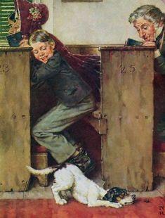 Rockwell, Norman (b,1894)- Dog in Church- Tom Sawyer, 1973