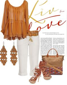 """""""tan/white"""" by kloeyblue on Polyvore"""