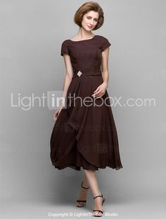 Lanting Bride® A-line Mother of the Bride Dress Tea-length Short Sleeve Chiffon with Crystal Detailing / Side Draping 2017 - $71.99