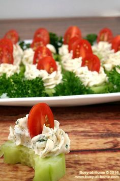 Cucumber Tomato Bites are a superbly simple recipe to serve at your next baby or wedding shower! The crisp vegetable crunch and creamy Parmesan herb spread are sure to satisfy.
