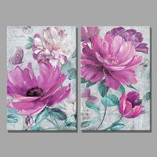 2 piezas púrpura pétalos flor verde hojas mariposa pintura al óleo decoración del hogar pintura de la pared pinturas para sala de estar