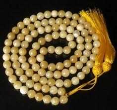 108 Light Beige Yellow Gemstone Buddhist Prayer Mala Beads Necklace