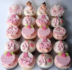 Ballerina cupcakes by Jo takes the cake Dance Cupcakes, Ballerina Cupcakes, Kid Cupcakes, Themed Cupcakes, Cupcake Cookies, Cupcake Toppers, Ballerina Birthday Parties, Ballerina Party, Birthday Cake Girls