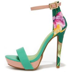 Miami Beach Sea Green Print Platform Sandals (445 ARS) ❤ liked on Polyvore featuring shoes, sandals, heels, sapatos, green, high heel stilettos, high heeled footwear, green sandals, vegan sandals and heels stilettos