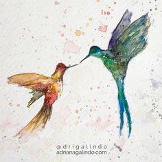 Happy Valentine's Day, watercolor, hummingbird, bird, illustration, nature, love, valentines, / Nas asas do amor, aquarela, beija flor, passaro, ilustracao, natureza, namaste, amor, namoro / drigalindo1@gmail.com  aquarela 21×15 cm / shop: drigalindo1@gmail.com   copyright by Adriana Galindo