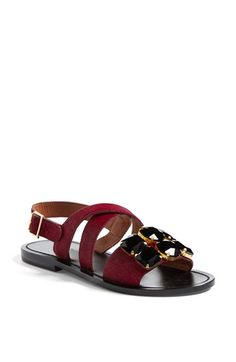 Marni Jeweled Calf Hair Flat Sandal (Women) available at #Nordstrom