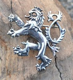Medieval Two Tailed Lion Sterling SILVER BROOCH by WulflundJewelry