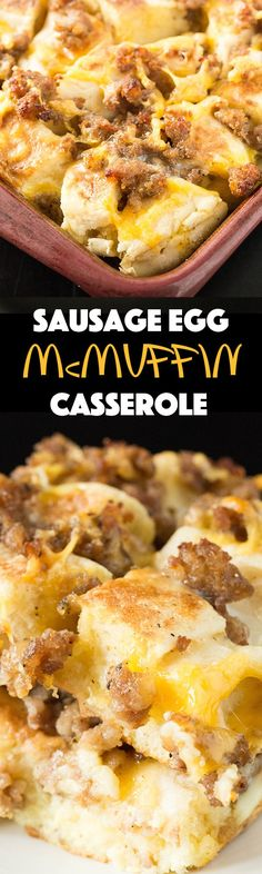 This breakfast recipe turns the classic flavors of a Sausage Egg McMuffin (sausage, egg, cheese, and English muffin) into a delicious breakfast casserole. You can prep the night before and toss in the oven the next morning for an easy breakfast. Breakfast And Brunch, Breakfast Items, Sausage Breakfast, Breakfast Dishes, Breakfast Recipes, Vegetarian Breakfast, Breakfast Gravy, Breakfast Cooking, Crockpot Breakfast Casserole