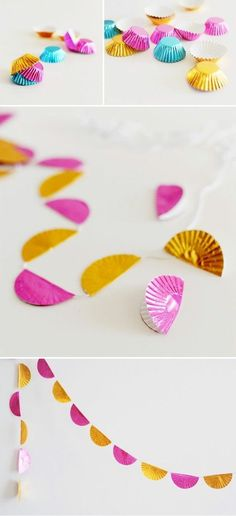If you are planning for a birthday party consider this Cupcake Wrapper Garland....Best DIY Garland Ideas To Try At Home. Its So Creatively Beautiful!! #diygarlandideas #diycrafts