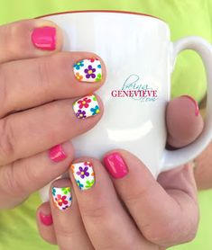 beautiful, bright, cheery and fun nail art design is perfect for any summer or spring manicure. Full tutorial and video on how to create this look is found at Summer Glimpse Flower Nail Designs, Best Nail Art Designs, Flower Nail Art, Toe Nail Designs, Nails Design, Flower Toe Nails, Art Flowers, Daisy Nail Art, Bright Nail Designs