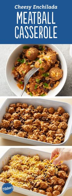 Meatballs are baked in a cheesy rice, bean and enchilada sauce mixture, which makes for a perfect twist on a weeknight dinner. If you're looking to add a little extra heat to the casserole, substitute (Bake Meatballs Casserole) Meatball Casserole, Casserole Dishes, Healthy Casserole Recipes, Healthy Recipes, Skillet Recipes, Mexican Food Recipes, Beef Recipes, Mexican Dishes, Hamburger Meat Dishes