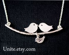 Bird necklace, INITIAL necklace, family necklace, bird jewelry, personalize new baby shower gifts, christmas gift, mothers day gifts. $29.50, via Etsy.