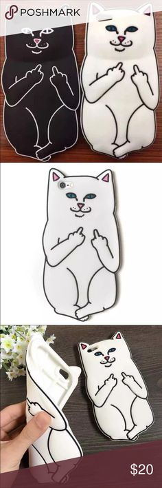 FRIDAY SALE Hilarious Rip N Dip white cat phone case for the iPhone 6&6s. Rude cat. Middle finger. Sassy cat. Kitty. Mean. Lord Nermal. White cat. Funny. Silly. Unique NO TRADES MAKE OFFERS THROUGH OFFER BUTTON Brandy Melville Accessories Phone Cases