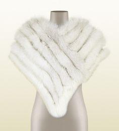 Cappa in pelliccia di volpe bianca