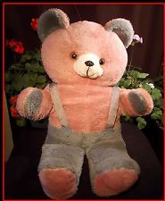 Benny the Bear Plush DanDee Vintage Stuffed Teddy Pink Mauve & Grey Supspenders