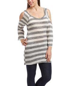 Love this White & Gray Stripe Shoulder-Cutout Top on Cut Out Top, Spring Tops, Grey Stripes, Gray, Shoulder, Women, Fashion, Moda, Gray Stripes