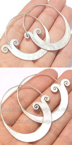 Thai Karen Hill Tribe Silver Earrings-Thai Karen Hill Tribe Silver Tribal Graphic Earring