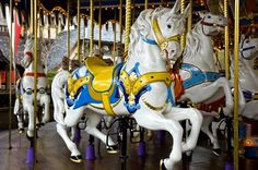 Carousel   fine art photography  white horses by CameraQueenPhoto