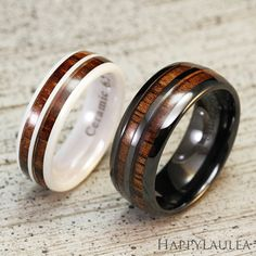 Set of Ceramic Rings with Koa Wood Double Inlay (6 & 8mm width, barrel Type)