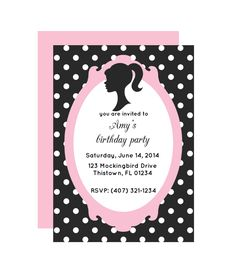 Glamour Doll Party Invitation