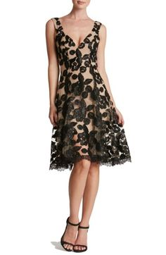 Lace Fit & Flare Illusion A Line Dress   - Many satin ribbons squiggle floral patterns over the airy lace of this décolleté cocktail dress made all the more romantic by an illusion hemline. Sexy and romantic. Perfect for Christmas Party or New Year's Party #fashion #trendy #style #dress #party #cocktail