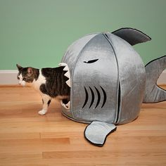 Japanese Nanotechnology Pet Beds, shark-shaped pet beds from thinkgeek.