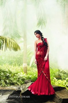 Outfit by:Jyotsna Tiwari. Red Lehenga, Indian wedding It's a pretty colour between fushia and red
