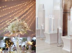 glass containers with water and centerpieces