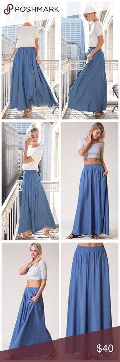 928aae9bd62 Light Denim Chambray Maxi With Pockets Skirt is a light weight chambray in  denim blue