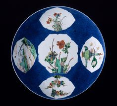 Dish (Pan) with Flowers, Landscapes, and Vessels with Musical Instruments China, Jiangxi Province, Jingdezhen, Chinese, Qing dynasty, Kangxi period, 1662-1722 Furnishings; Serviceware Wheel-thrown porcelain with powder blue glaze, overglaze painted enamel decoration (wucai), and gilding 2 x 10 3/4 in. (5.08 x 27.31 cm) Gift of Edwin C. Vogel (54.46.2a-b) Chinese Art