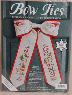 Bow Ties Christmas Cross Stitch Kit Golden Greetings Door Decoration New USA #BowTies #DoorDecoration