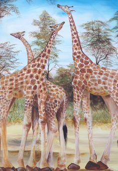 Breathtaking acrylic painting of Three Giraffes by Ugandan Artist, Davis Muwumba.  etsy.com/shop/nyumbaniafroart